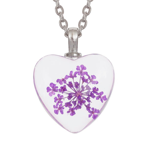 Purple Flower Heart Pendant Necklace