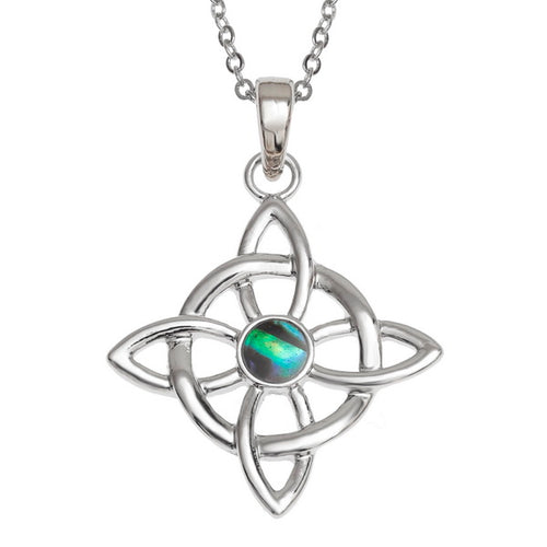 Lucky Paua Shell Celtic Quaternary Knot Pendant Necklace