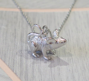 Sterling Silver Solid 925 Rat Mouse Pendant Necklace
