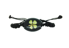 Load image into Gallery viewer, Lucky Real Four Leaf Clover Black Bracelet