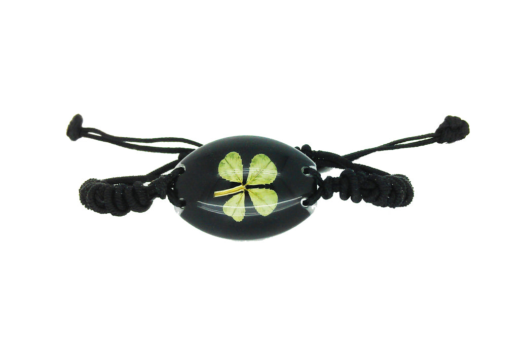 Lucky Real Four Leaf Clover Black Bracelet