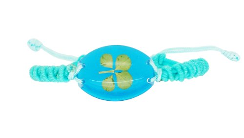 Lucky Real Four Leaf Clover Sparking Blue Bracelet
