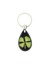 Load image into Gallery viewer, Lucky Real Four Leaf Clover Black Keyring Keychain