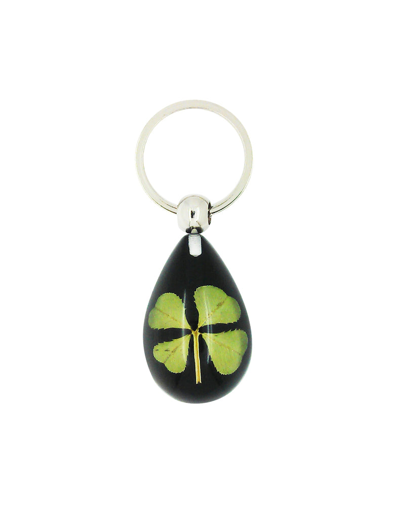 Lucky Real Four Leaf Clover Black Keyring Keychain