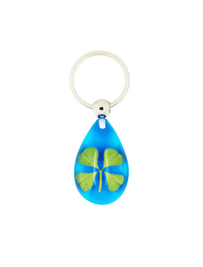 Lucky Real Four Leaf Clover Blue Keyring Keychain