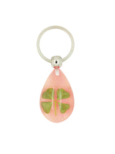 Load image into Gallery viewer, Lucky Real Four Leaf Clover Pink Keyring Keychain