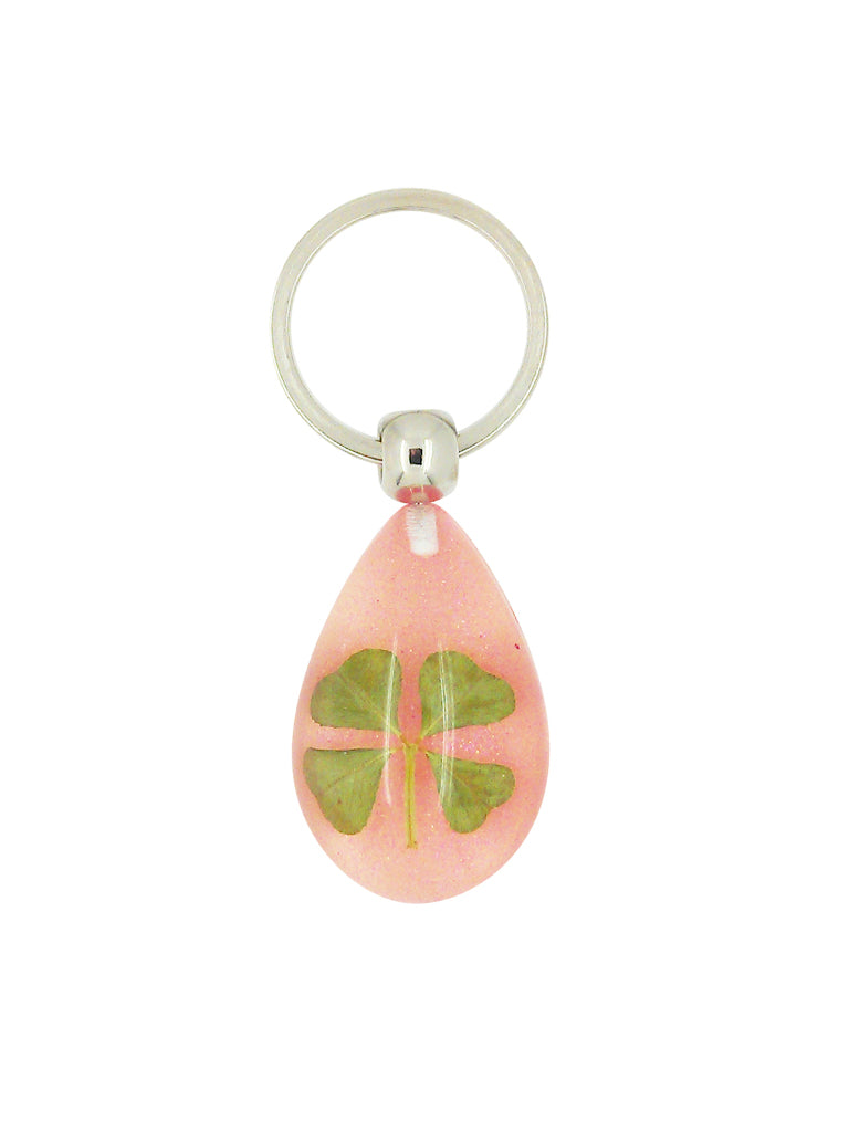 Lucky Real Four Leaf Clover Pink Keyring Keychain