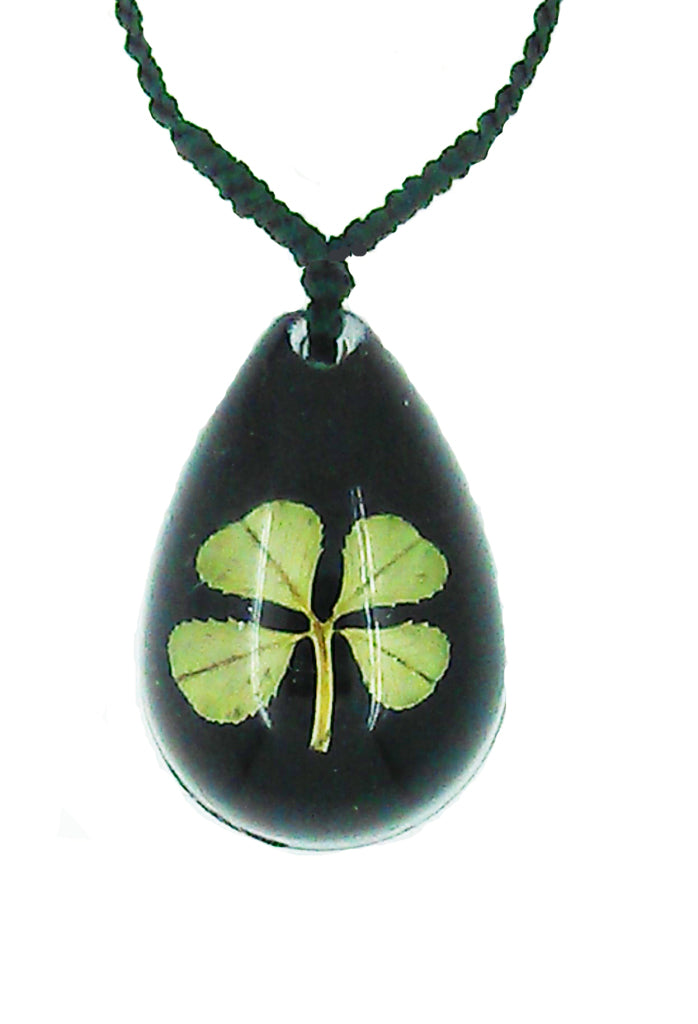 Lucky Real Four Leaf Clover Black Pendant Necklace