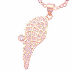 Gold, Silver and Rose Gold Plated Crystal Guardian Angel Wing Necklace Pendant