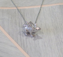Load image into Gallery viewer, Sterling Silver Solid 925 Rat Mouse Pendant Necklace