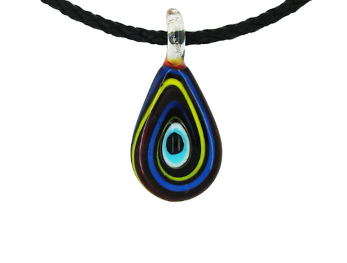 Evil Eye Murano Glass Blue, Yellow & Red Pendant Necklace
