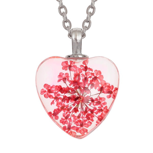Red Flower Heart Pendant Necklace