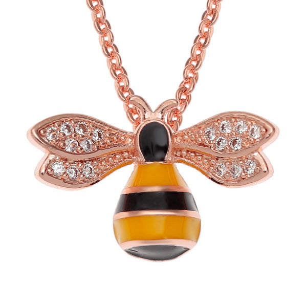 Lucky Rose Gold Bumble Bee Pendant Necklace