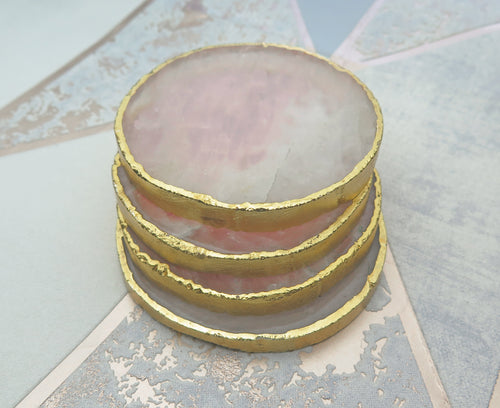 Set of 4 Gold Dipped Rose Quartz Gemstone Coasters