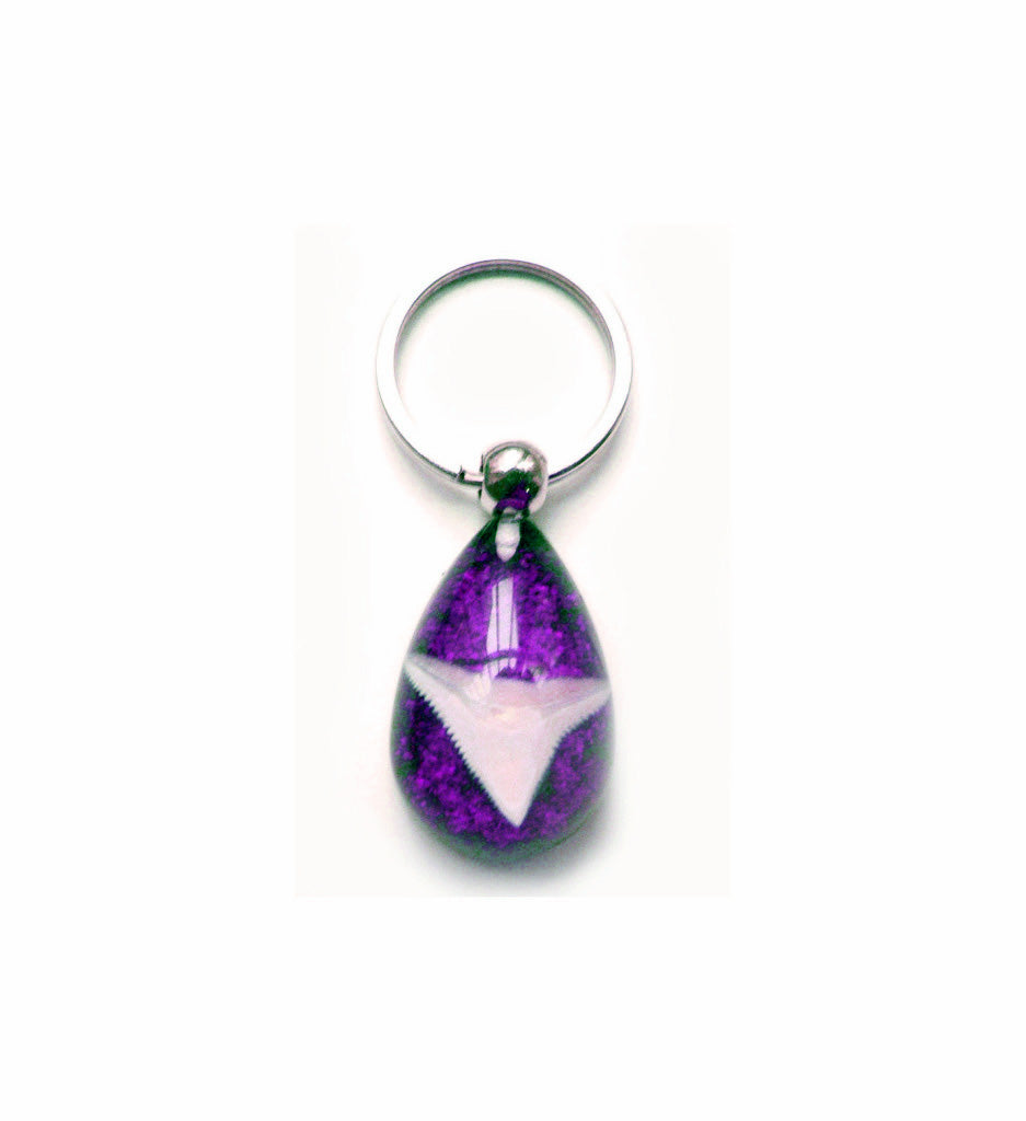 Lucky Real Sharks Tooth Purple Keyring Keychain