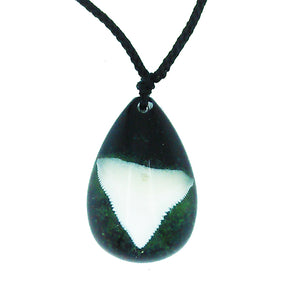 Lucky Real Sharks Tooth Green Pendant Necklace