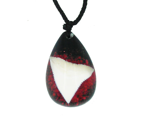Lucky Real Sharks Tooth Red Pendant Necklace