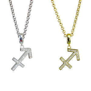 Gold & Silver Plated Sagittarius Horoscope Zodiac Czech Crystal Pendant Necklace