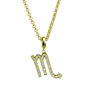 Gold & Silver Plated Scorpio Horoscope Zodiac Czech Crystal Pendant Necklace
