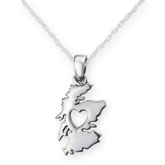 Heart of Scotland 925 Sterling Silver Pendant Necklace