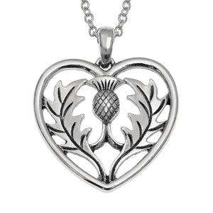 Celtic Scottish Thistle Heart Pendant Necklace