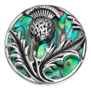 Lucky Paua Shell Scottish Thistle Brooch
