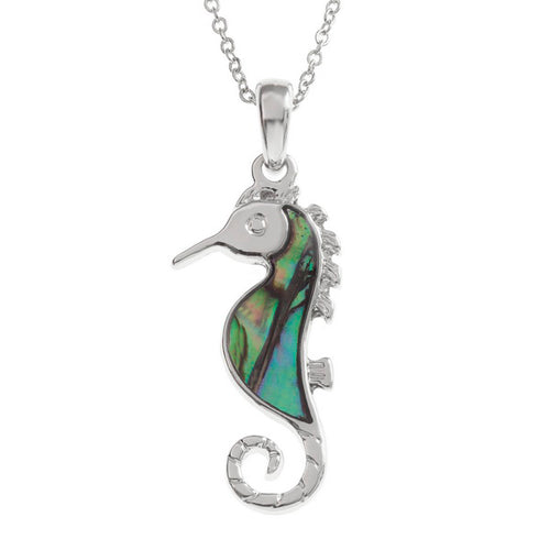 Lucky Genuine Paua Shell Seahorse Pendant Necklace