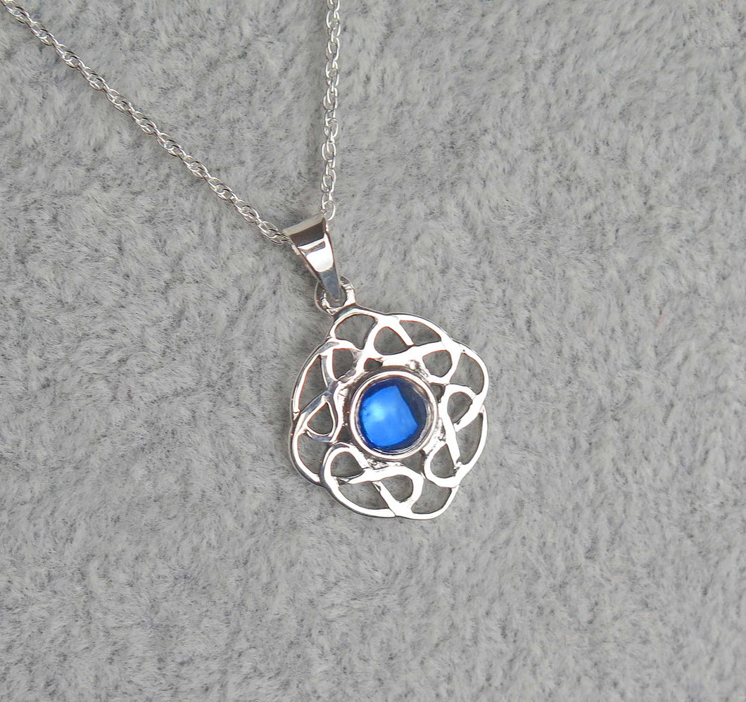 Sterling Silver Celtic Knot September Birthstone Pendant