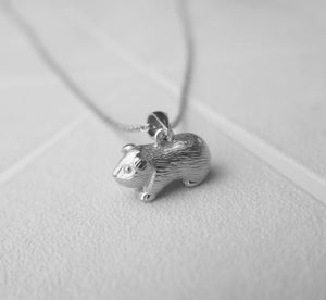 Solid 925 Sterling Silver Guinea Pig Pendant Necklace