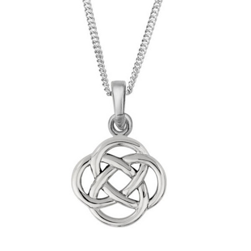 Celtic Knot Skye Solid 925 Sterling Silver Pendant Necklace