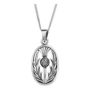 Celtic Scottish Thistle Oval Pendant Necklace