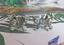 Load image into Gallery viewer, Baby Snow Leopard Porcelain Earrings