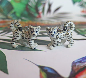 Baby Snow Leopard Porcelain Earrings