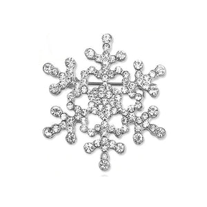 Crystal Snowflake Christmas Brooch