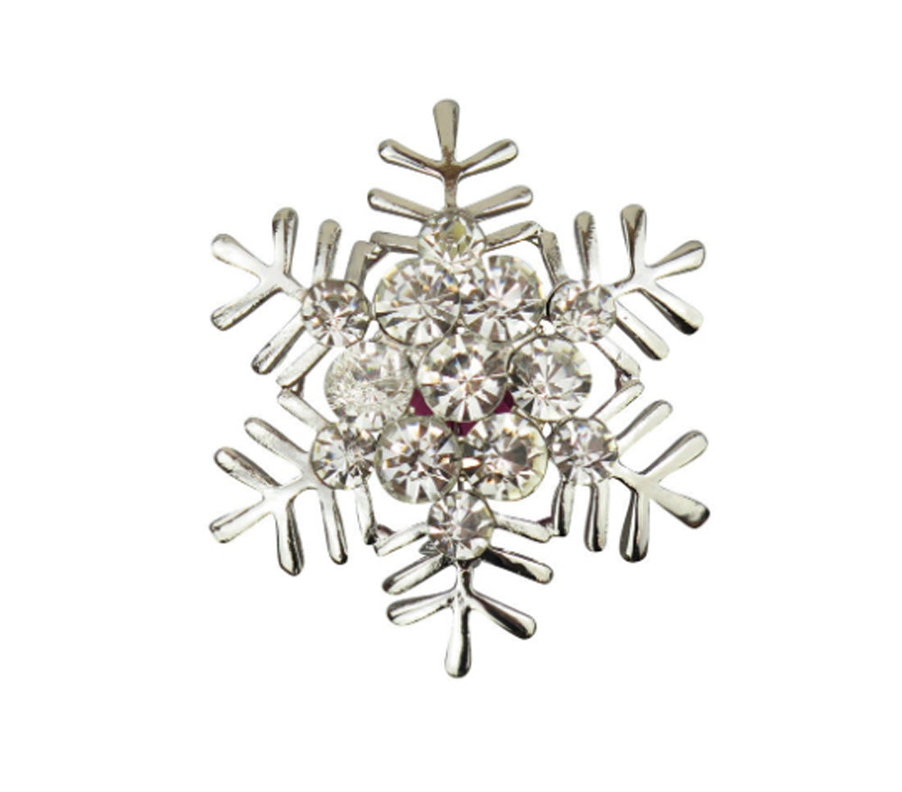 Snowflake with Crystals Christmas Brooch