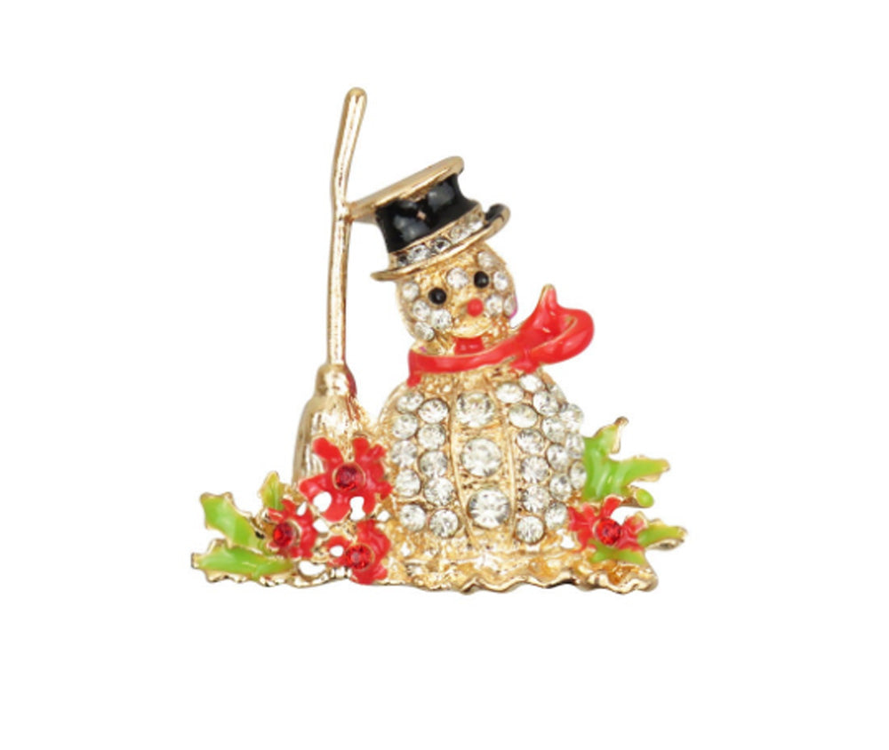 Crystal Snowman Christmas Brooch
