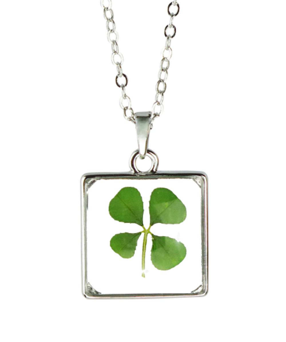 Lucky Real Four Leaf Clover Square Glass Pendant Necklace