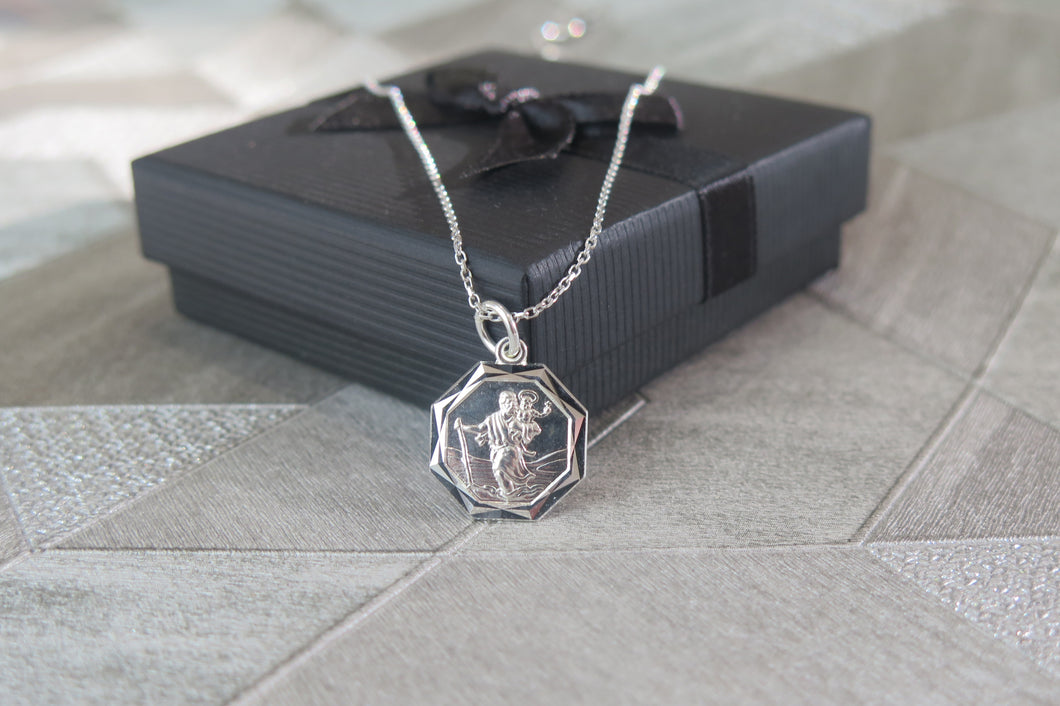Sterling Silver Saint Christopher Pendant Necklace