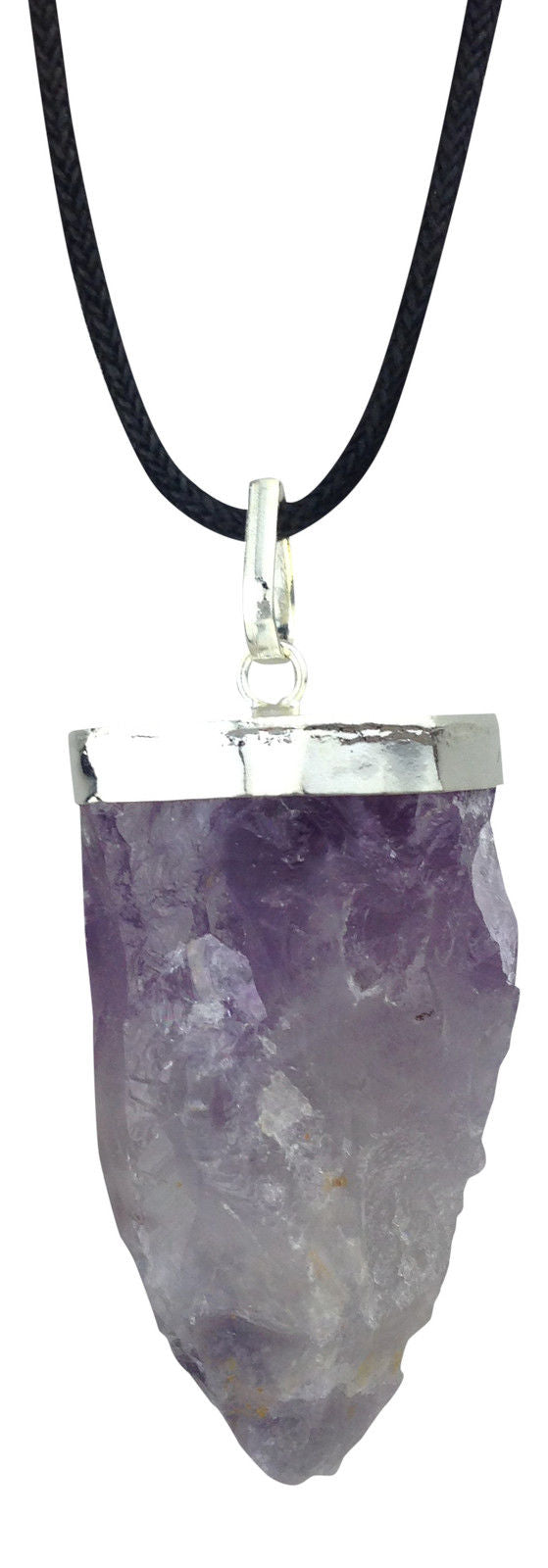 Amethyst Stalactite Silver Plated Cap Pendant Necklace