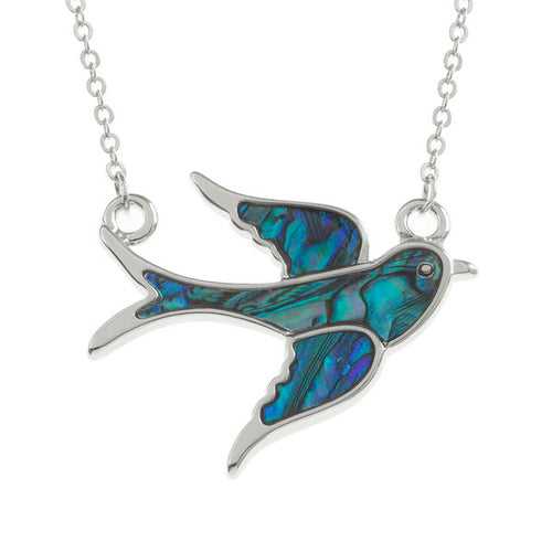 Lucky Genuine Paua Shell Swallow Pendant Necklace
