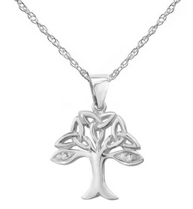 Celtic Trinity Knot Tree of Life Solid 925 Sterling Silver Pendant Necklace