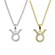 Load image into Gallery viewer, Gold & Silver Plated Taurus Horoscope Zodiac Czech Crystal Pendant Necklace