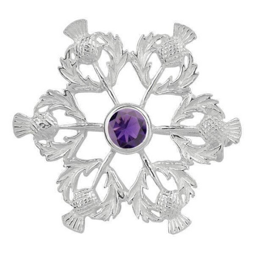 Celtic Scottish Thistle with Amethyst Solid 925 Sterling Silver Brooch