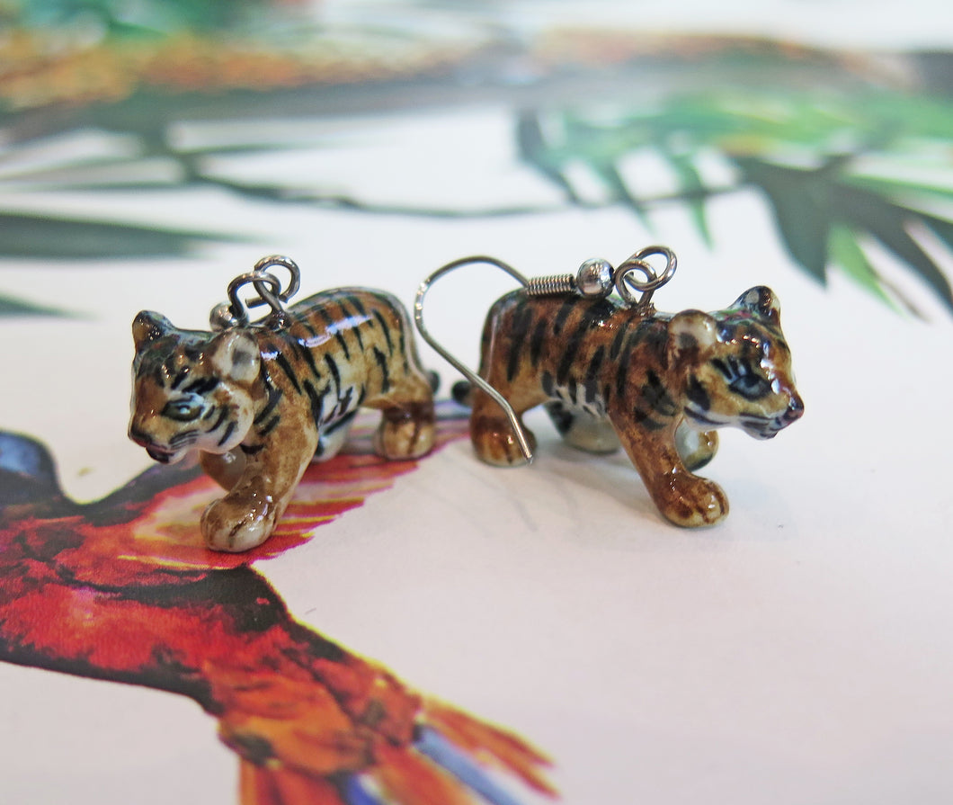 Tiger Cub Porcelain Earrings