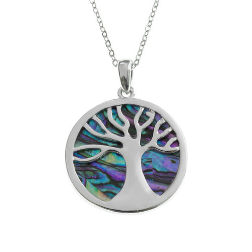 Lucky Paua Shell Celtic Tree of Life Pendant