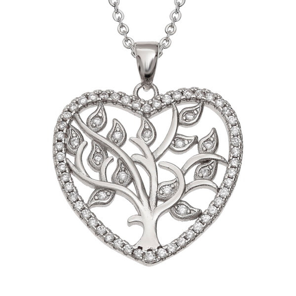 Crystal Celtic Tree of Life Heart Pendant Necklace