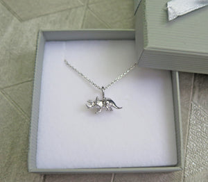 Sterling Silver Triceratops Dinosaur Pendant Necklace