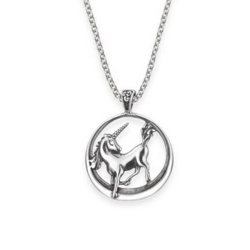 Unicorn Round Solid 925 Sterling Silver Pendant