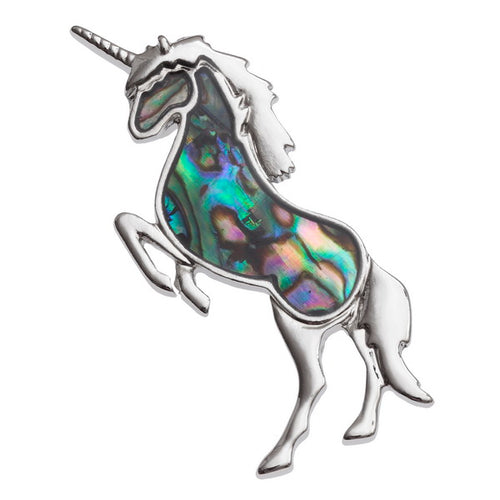 Lucky Genuine Paua Shell Unicorn Brooch