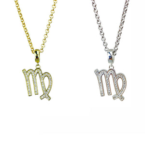 Gold & Silver Plated Virgo Horoscope Zodiac Czech Crystal Pendant Necklace